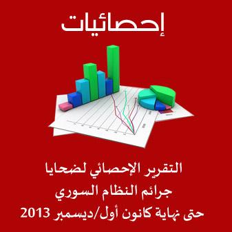 الاحصائية الشهرية لضحايا جرائم النظام السوري حتى نهاية كانون أول/ديسمبر 2013