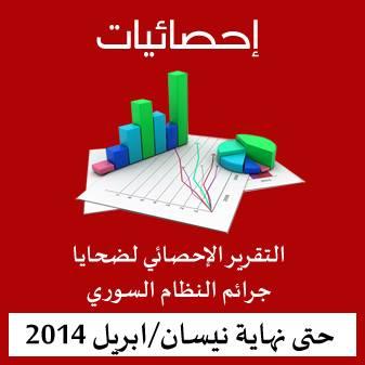احصائية ضحايا جرائم النظام السوري حتى نهاية نيسان/ابريل 2014