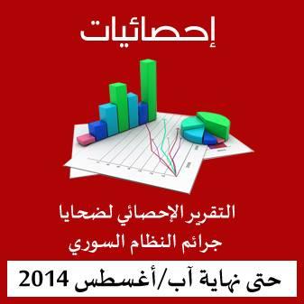 احصائية ضحايا جرائم النظام السوري حتى نهاية آب/أغسطس 2014